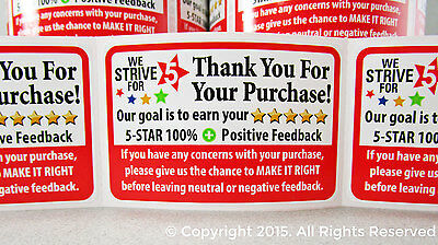 250 Ebay Thank You For Your Purchase Shipping Labels Label Stickers 2x3 5 Star