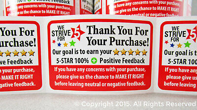 100 Roll Thank You For Your Purchase Seller Shipping Labels Stickers Label 2x3