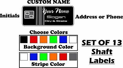 Custom Golf Shaft Label Stickers Full Set of 13  (YOU CHOOSE COLOR)