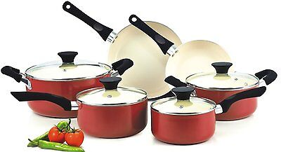 Cook N Home NC00359 Nonstick Ceramic Coating 10Piece Cookware Set, Red, New
