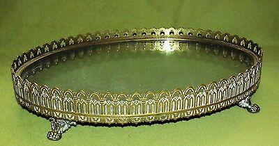 Antikes Spielgeltablett mit 4 Löwenfüßen Messing/Bronze/Holz/Glas