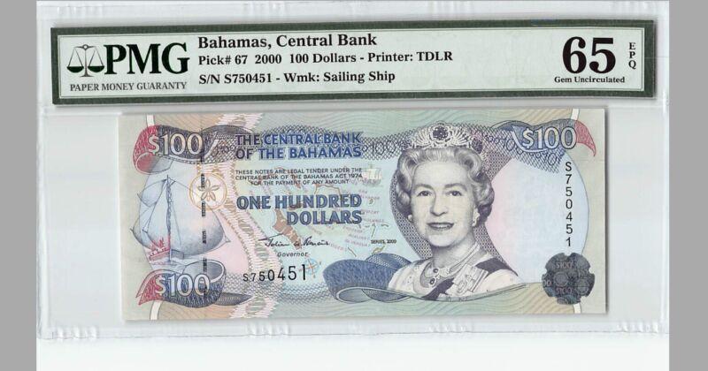 BAHAMAS $100  2000  P-67 PMG 65 EPQ Gem Unc