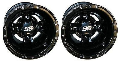 (2) ITP SS112 Matte Black Rear Wheels Yamaha YZF450 / Raptor 660/700 / Banshee