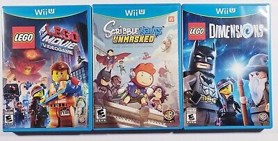 LOT OF 3 (Wii U Games) LEGO Movie - Scribblenauts Unmasked - LEGO Dimensions
