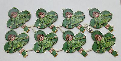 SALE Vintage/Antique Girl Leprechaun Victorian St Patrick's Diecut  Scrap 8pcs