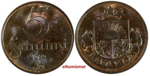 LATVIA Bronze 1922 5 Santimi MINT NAME BELOW RIBBON UNC  KM# 3
