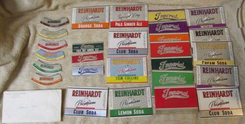 Vtg IMPERIAL & REINHARDT Beverage Soda Label Lot Birch Beer/Cream/Mixers J0155