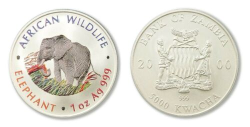 2000 Zambia Large Color Silver Matte 5000 Kwacha-Elephant- African wildlife