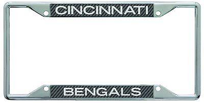 Cincinnati Bengals Metal License Plate Frame with Carbon Fiber Design Cincinnati Bengals License Plate Frame
