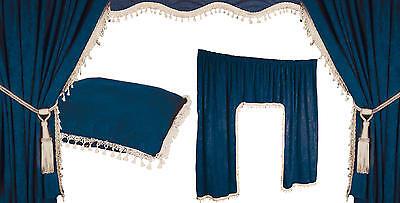 5 tlg LKW Gardinen Vorhänge Innenausstattung Set blau weiß MERCEDES DAF RENAULT