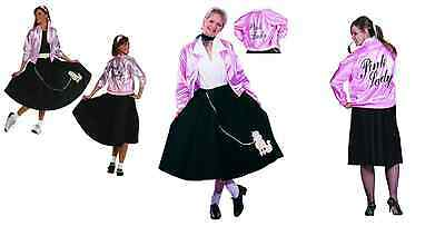 PINK LADIES JACKET 50S 1950'S 50'S SATIN GREASE LADY COSTUME SOCK HOP ADULT ](Pink Lady Jacket Grease)