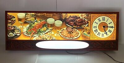 VTG Large 1950s 60s Lakeside Plastics Restaurant Beer Seafood Lighted Clock Sign