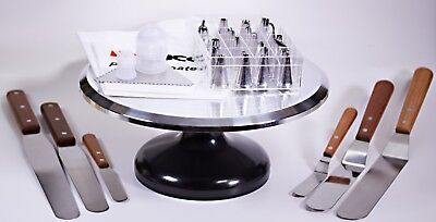 38-pc Cake Decorating set, Turntable Spatulas Pastry Bags Glaze Tips Comb Pro