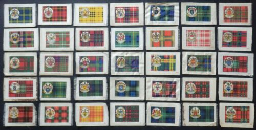 CLAN TARTANS and Coats of Arms 99 year old SILK cards issued in 1922