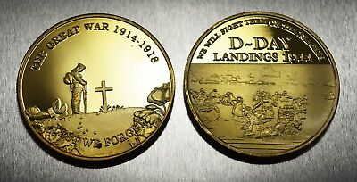 Pair of WW1 Armistice & WW2 Churchill D-Day Commemoratives in 24ct Gold Finish
