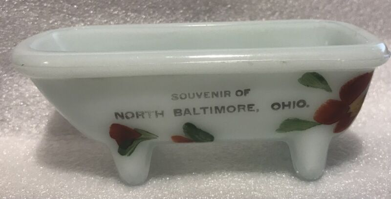 North Baltimore Ohio Milk Glass Souvenir Bathtub Vintage Hand Painted Flowers