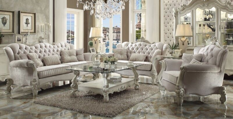Versailles Traditional 6 Piece Living Room Set Sofa, Love, Chair, Tables Carved