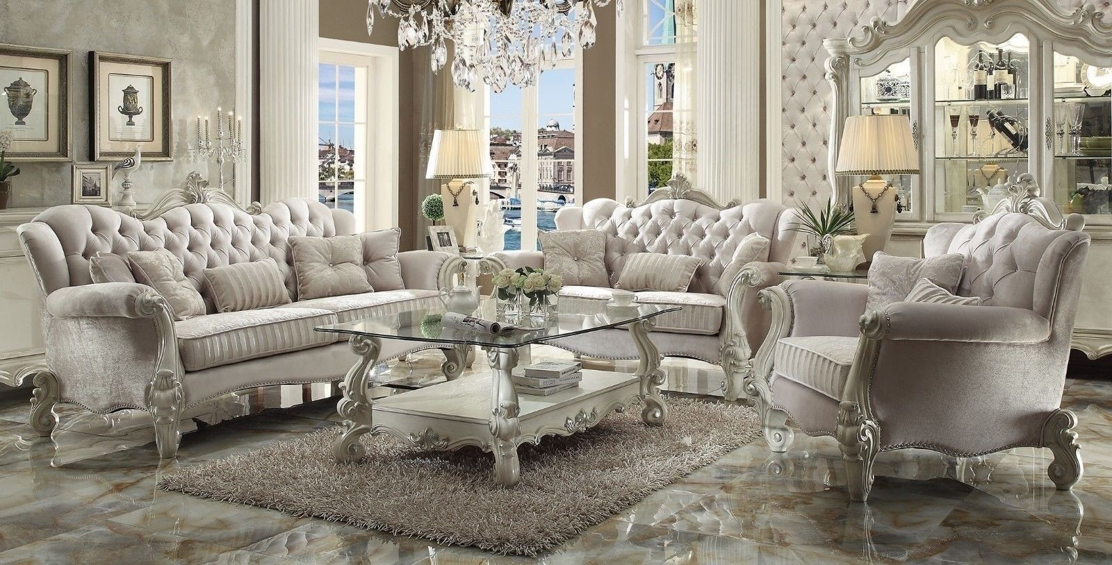 Details about Versailles Traditional 6 Piece Living Room Set Sofa, Love,  Chair, Tables Carved