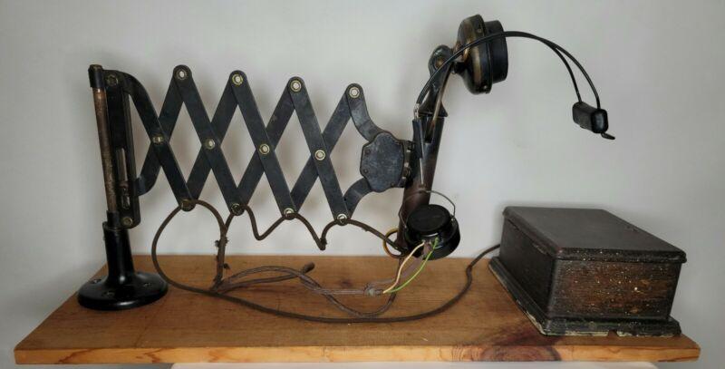 Western Electric Railroad Dispatcher Scissor Accordion Telephone & Headset 1908