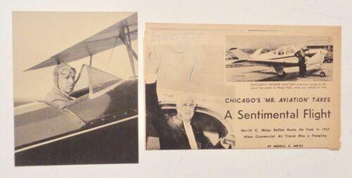 MEIGS FIELD CHICAGO AIRPORT Merrill C. Meigs PILOT 1920s Press Photo & Article