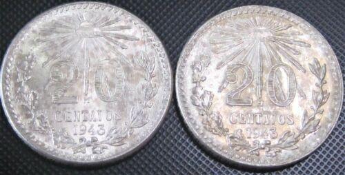 2x **UNC** 1943 - 20 Centavos Cap & Rays KM#438 - 2 Silver Coins