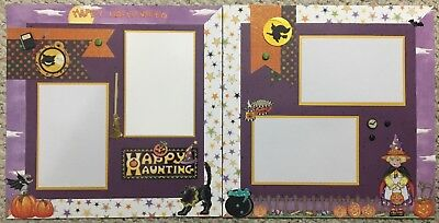 Pre-made two (2) page Scrapbook layout Halloween 'Happy Haunting' 12x12 - Happy Pre Halloween