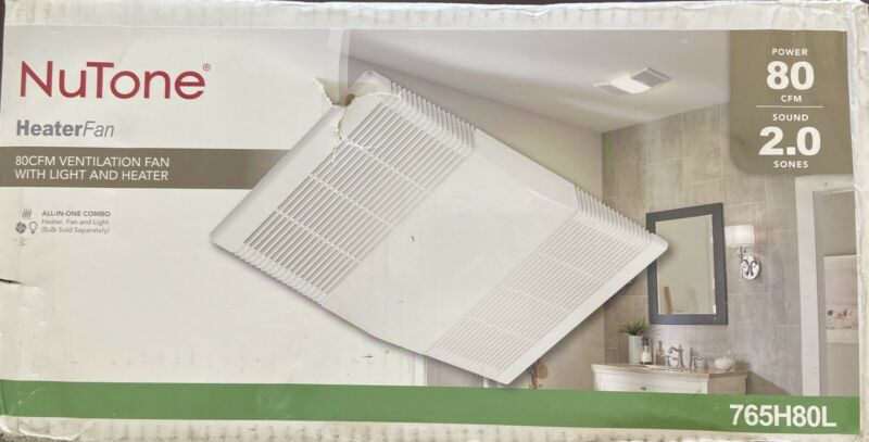 NuTone Ceiling Bathroom Exhaust Fan w/ Light and 1300-Watt Heater - 80 CFM