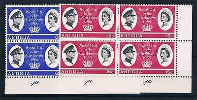 Antigua 1966 Royal Visit PLATE BLOCKS SG 174/5 MNH