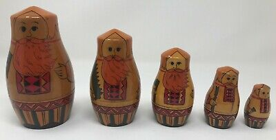 NESTING Dolls RUSSIAN 5 Piece SET Matryoshka AXE Men Made in the USSR (Matryoshka 5 Piece)