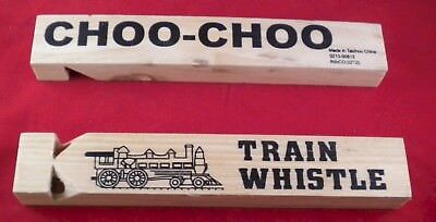 wholesale lot of 24 Real Sound Wood Train Whistle wholesale price only $.99 each