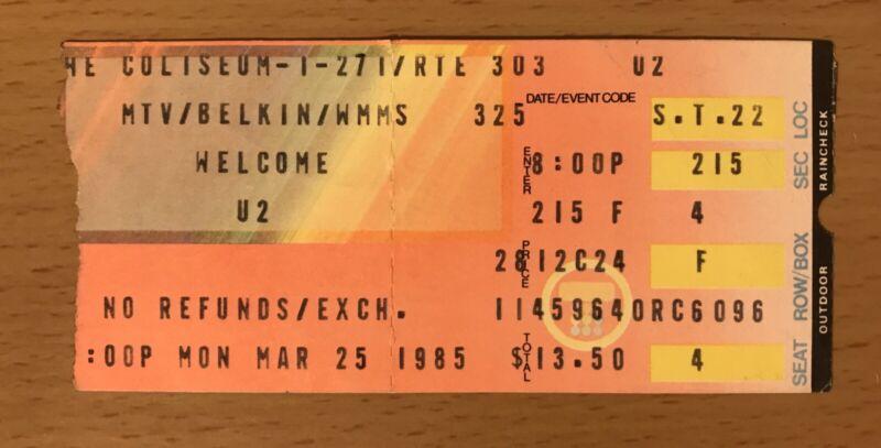 1985 U2 CONCERT TICKET STUB CLEVELAND THE UNFORGETTABLE FIRE TOUR BONO EDGE BOY