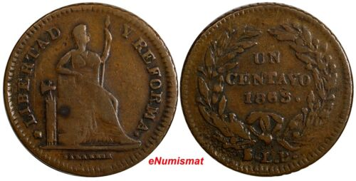 Mexico Copper 1863 SLP 1 Centavo San Luis Potosi Mint 1 YEAR TYPE SCARCE KM390.1