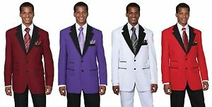 Mens-2Pc-100-Poplin-Dacron-Fashion-Two-Button-Suit-4-Colors-Style-7022
