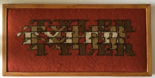 """Needlepoint handcrafted TYLER unique art design in wood framed 18"""" X 9"""" on rust"""