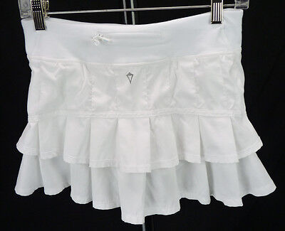 Ivivva by Lululemon SET THE PACE White Ruffle Mini Skirt Tennis SKORT Girls 14