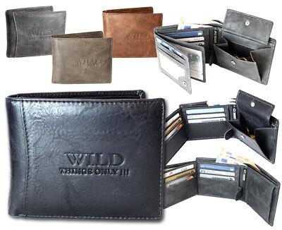 Leder Tri-fold Brieftasche (Herren Brieftasche, Geldbeutel, Geldbörse, Portemonnaie, Wallet,Kunst-Leder)