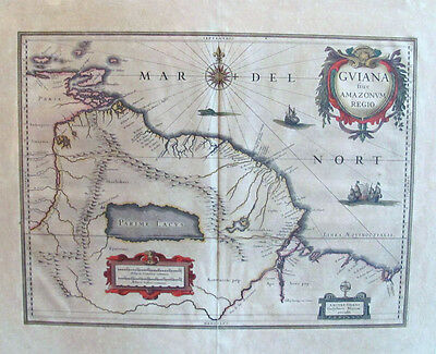 c. 1640 Bleau Map of Guiana Showing Fabled City of El Dorado