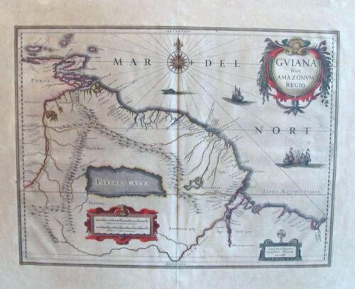 c. 1640 Bleau Map of Guiana Showing Fabled City of El Dorado