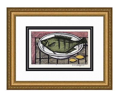"Marvelous 1967 BERNARD BUFFET Color Lithograph ""Fish & Lemons"" SIGNED Framed COA"