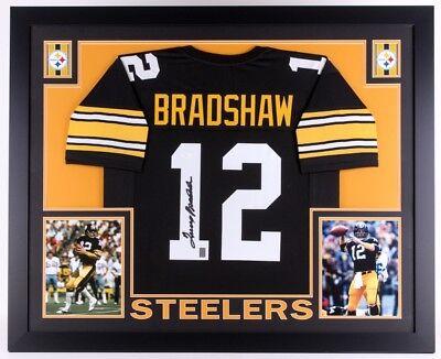 7caf2a6be4e Terry Bradshaw Signed Black Steelers 35x43 Custom Framed Jersey (JSA COA)
