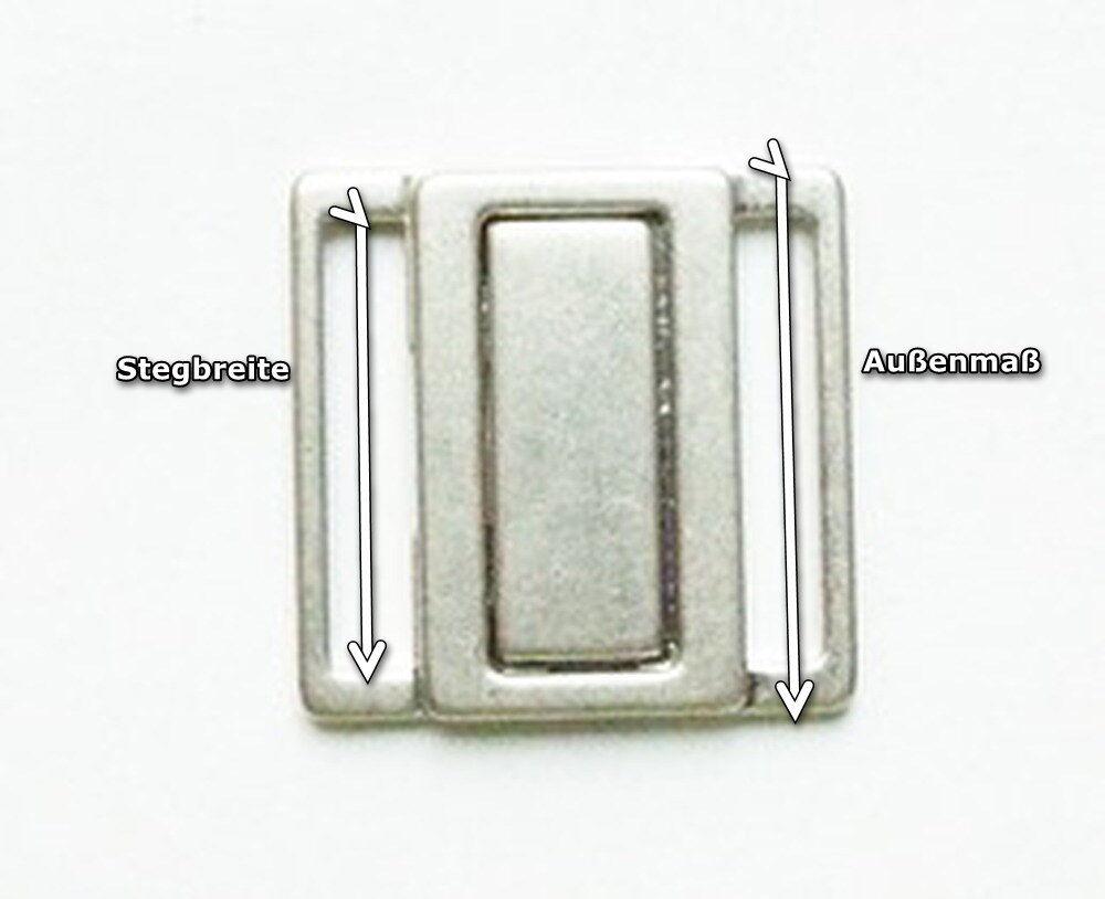 Bikiniverschluß Bikini Metall Stegbreite 25 mm matt silber Verschluss nickelfrei