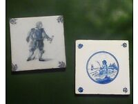 "A pair of 5"" Antique / Vintage Delft Tiles £10 Bradford on Avon (post +£5)"