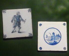 "A pair of 5"" Antique / Vintage Delft Tiles £10 Bradford on Avon (post +£5)"