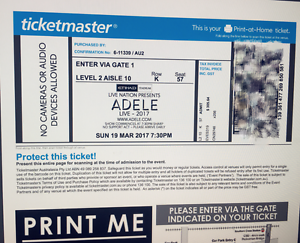 2 ADELE CONCERT 19 MARCH TICKETS  TOTAL 590AUD ( SOLD ALREADY ) Alexandria Inner Sydney Preview