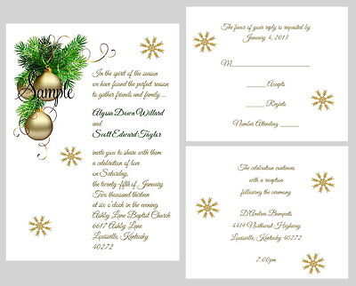 100 Personalized  Winter Christmas Holiday Bridal Wedding Invitations Set