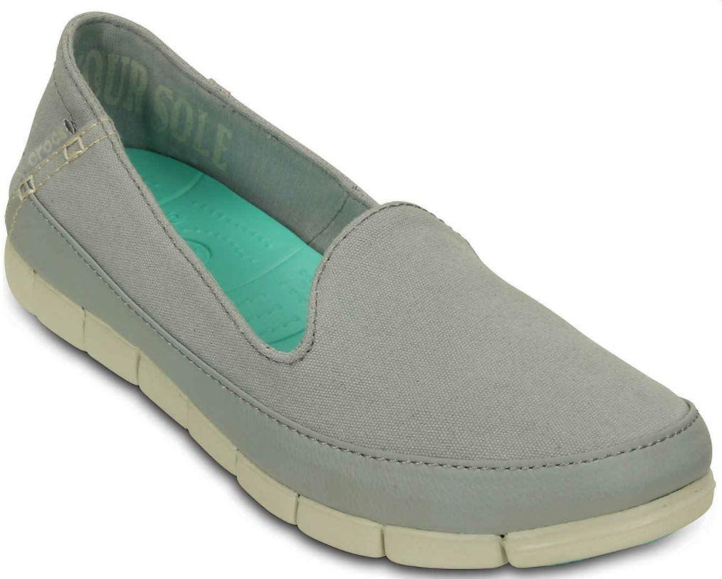 NIB Crocs Women Stretch Sole Skimmer Gray Canvas Comfortable Shoes  1