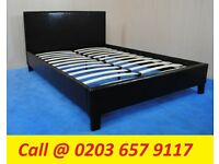 DOUBLE LEATHER BED WITH MATTRESS COLOR OPTION AVAILABLE
