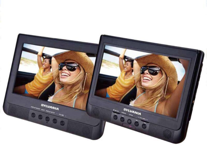 """Sylvania SDVD1037 10.1"""" Dual Screen Portable Car DVD Player USB / SD Card slot"""