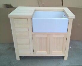 Solid Pine Sink Kitchen Unit INCLUDING Sink