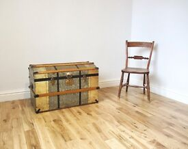 Vintage Domed Metal Trunk / Blanket Chest / Storage Trunk